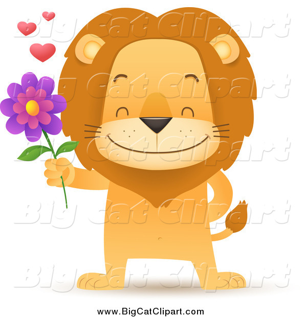 Big Cat Cartoon Vector Clipart of a Romantic Male Lion Holding out a Flower