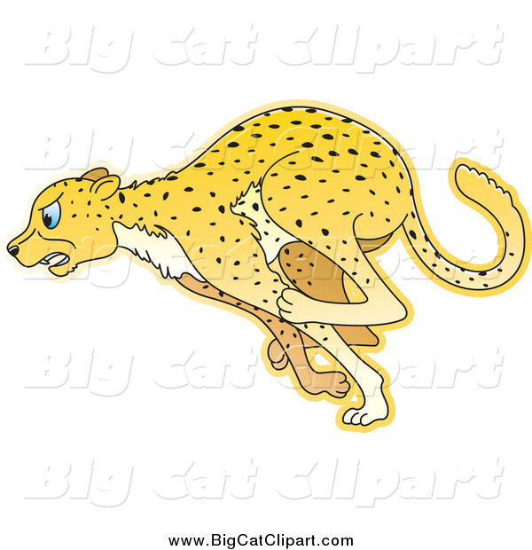 Big Cat Cartoon Vector Clipart of a Running Cheetah in Profile