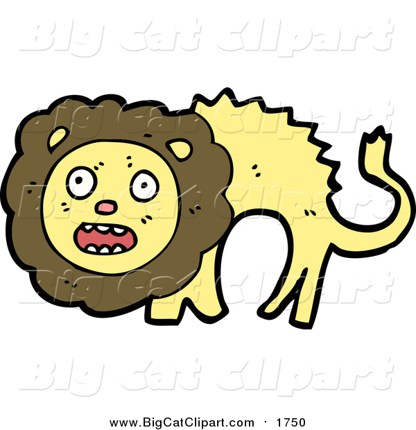 Big Cat Cartoon Vector Clipart of a Scared Lion Screaming
