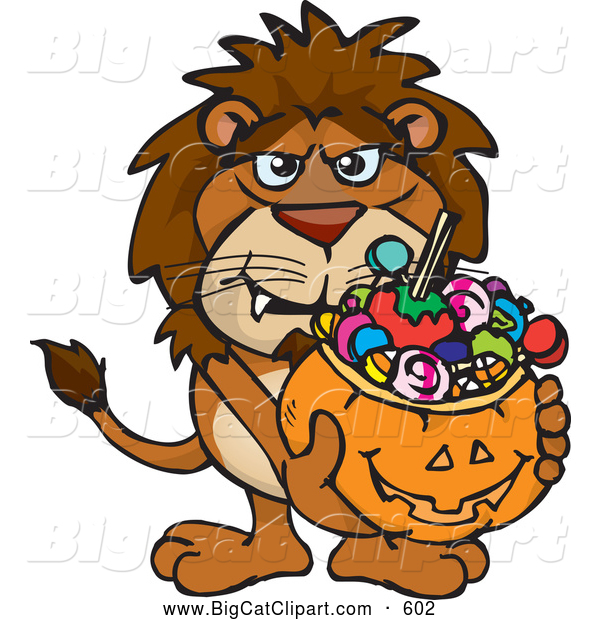Big Cat Cartoon Vector Clipart of a Scary Trick or Treating Lion Holding a Pumpkin Basket Full of Halloween Candy