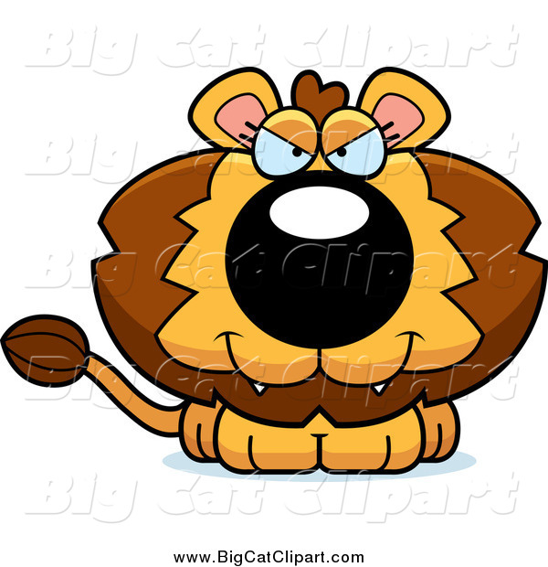 Big Cat Cartoon Vector Clipart of a Sitting Evil Lion