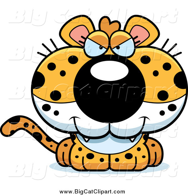 Big Cat Cartoon Vector Clipart of a Sly Leopard Cub
