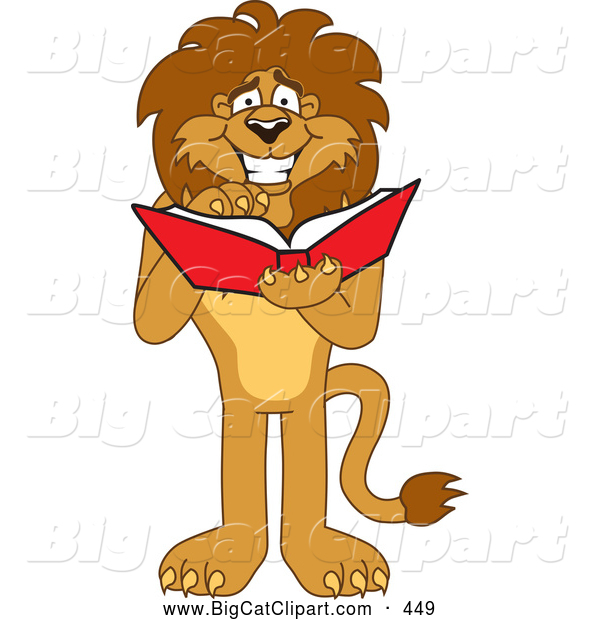 Big Cat Cartoon Vector Clipart of a Smiling Lion Character Mascot Reading