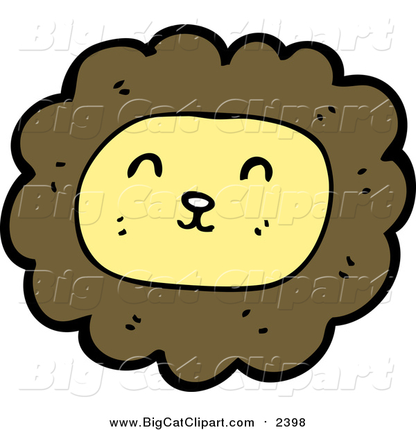 Big Cat Cartoon Vector Clipart of a Smiling Male Lion