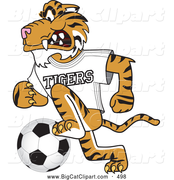 Big Cat Cartoon Vector Clipart of a Smiling Tiger Character School Mascot Playing Soccer