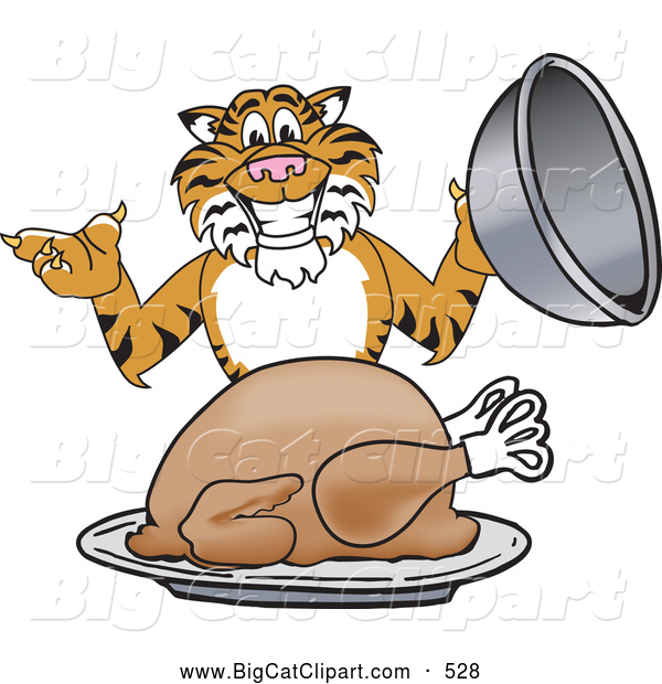 Big Cat Cartoon Vector Clipart of a Smiling Tiger Character School Mascot Serving a Thanksgiving Turkey