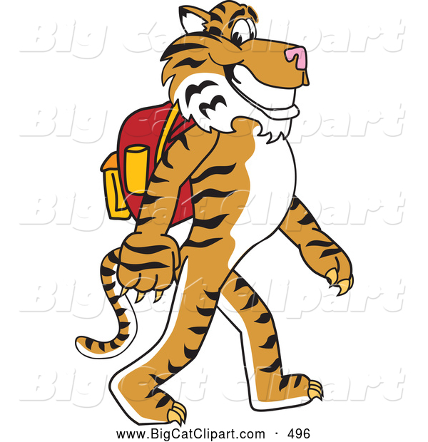 Big Cat Cartoon Vector Clipart of a Smiling Tiger Character School Mascot Walking to School