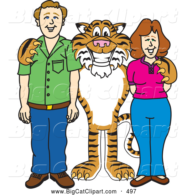 Big Cat Cartoon Vector Clipart of a Smiling Tiger Character School Mascot with Teachers or Parents