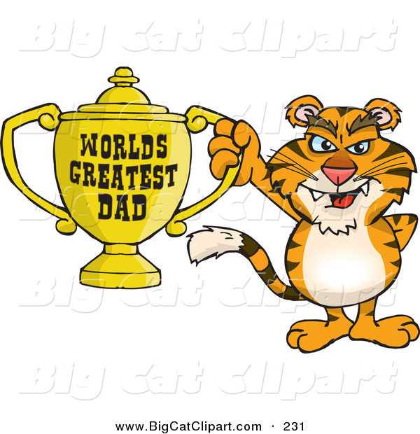 Big Cat Cartoon Vector Clipart of a Smiling Tiger Wildcat Character Holding a Golden Worlds Greatest Dad Trophy
