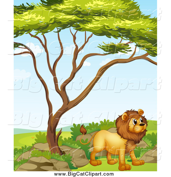 Big Cat Cartoon Vector Clipart of a Standing Lion by a Tree