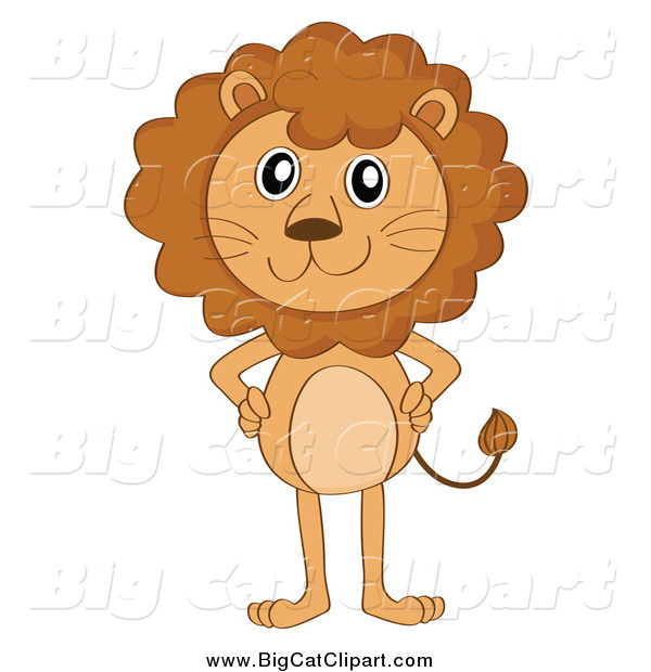 Big Cat Cartoon Vector Clipart of a Standing Lion with Hands on Hips