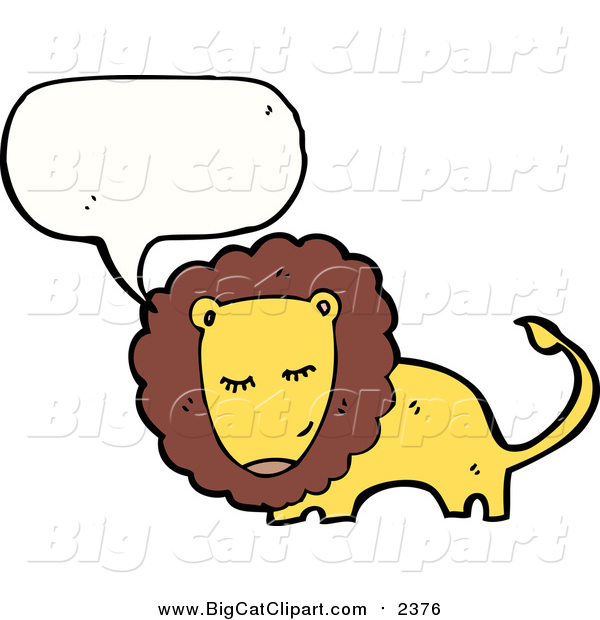Big Cat Cartoon Vector Clipart of a Talking Bashful Male Lion