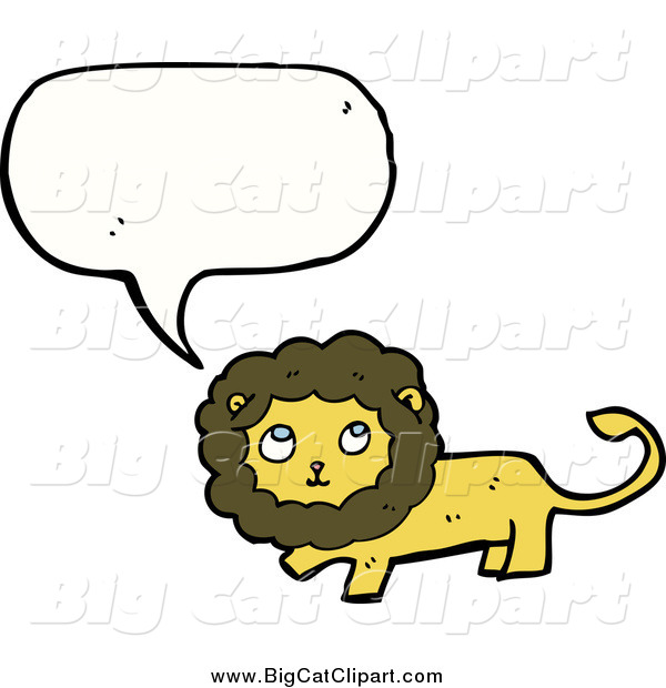 Big Cat Cartoon Vector Clipart of a Talking Thinking Lion