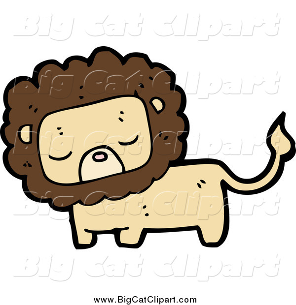 Big Cat Cartoon Vector Clipart of a Tan and Brown Lion