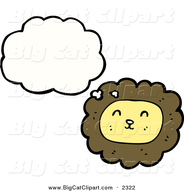 Big Cat Cartoon Vector Clipart of a Thinking Lion