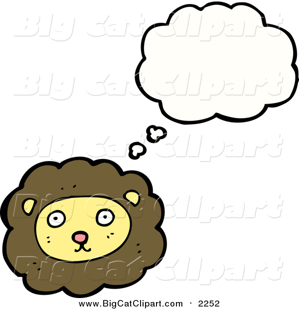 Big Cat Cartoon Vector Clipart of a Thinking Male Lion