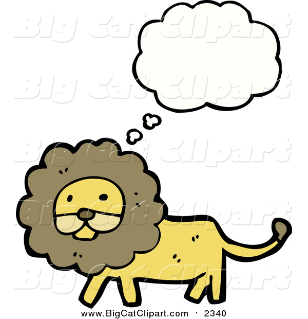 Big Cat Cartoon Vector Clipart of a Thinking Walking Lion
