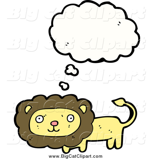 Big Cat Cartoon Vector Clipart of a Thinking Yellow Lion