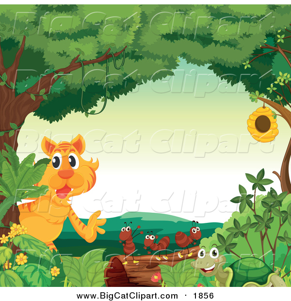 Big Cat Cartoon Vector Clipart of a Tiger and Bugs in a Forest
