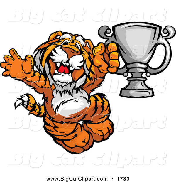 Big Cat Cartoon Vector Clipart of a Victorioius Tiger Champion Mascot Holding a Trophy