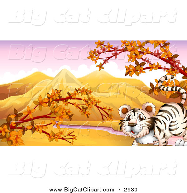 Big Cat Cartoon Vector Clipart of a White Tiger in an Autumn Valley