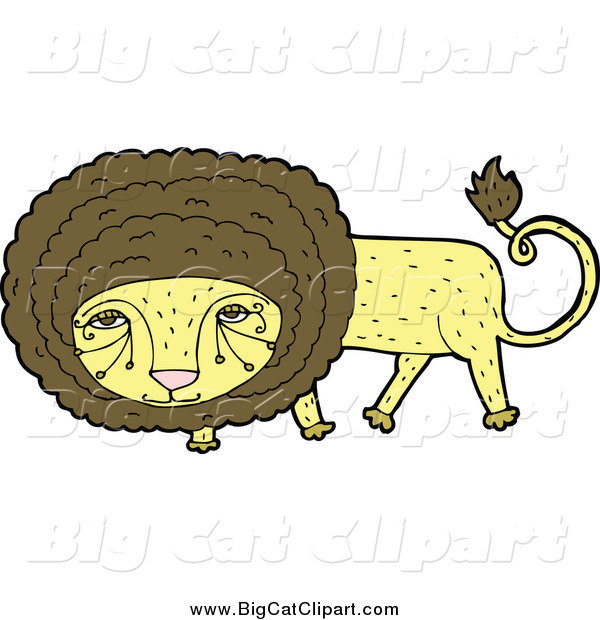 Big Cat Cartoon Vector Clipart of a Yellow and Brown Male Lion Looking Shy