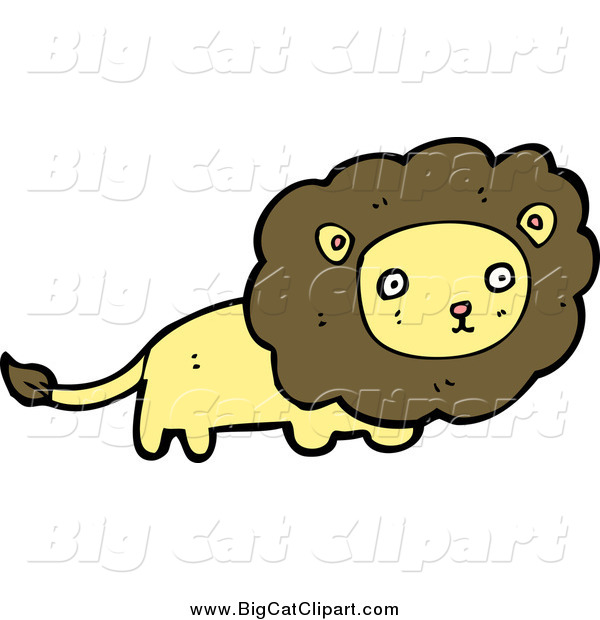 Big Cat Cartoon Vector Clipart of a Yellow Male Lion