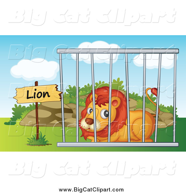 Big Cat Cartoon Vector Clipart of a Zoo Lion Resting in a Cage