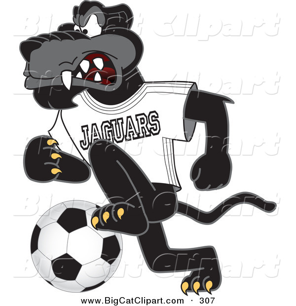 Big Cat Cartoon Vector Clipart of an Angry Black Jaguar Mascot Character Kicking a Soccer Ball
