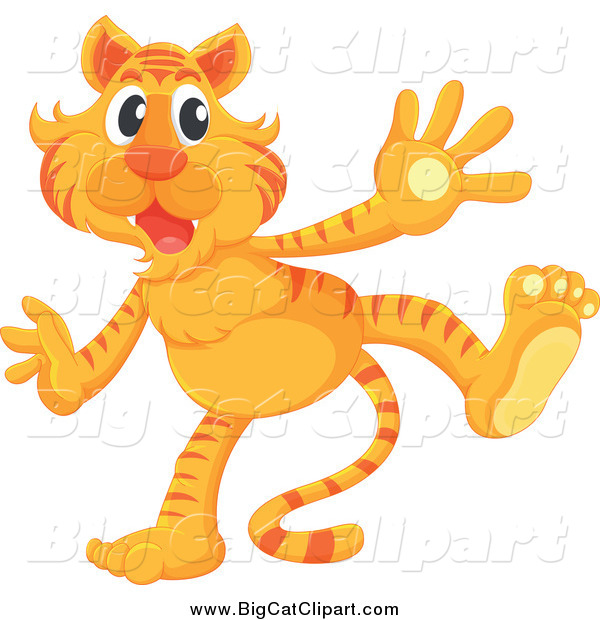 Big Cat Cartoon Vector Clipart of an Excited Standing Tiger