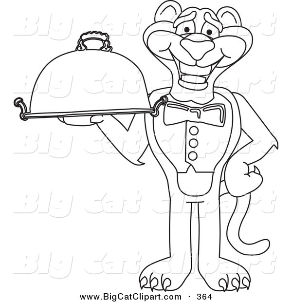Big Cat Cartoon Vector Clipart of an Outline Design of a Panther Character Mascot Holding a Platter