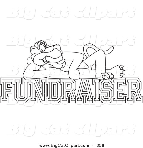 Big Cat Cartoon Vector Clipart of an Outline Design of a Panther Character Mascot Reclined on Fundraiser Text