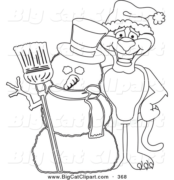 Big Cat Cartoon Vector Clipart of an Outline Design of a Panther Character Mascot with a Snowman