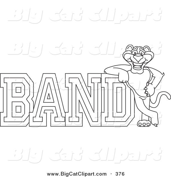 Big Cat Cartoon Vector Clipart of an Outline Design of a Panther Character Mascot with Band Text