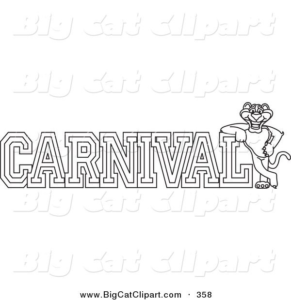 Big Cat Cartoon Vector Clipart of an Outline Design of a Panther Character Mascot with Carnival Text