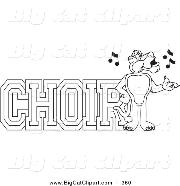 Big Cat Cartoon Vector Clipart of an Outline Design of a Panther Character Mascot with Choir Text