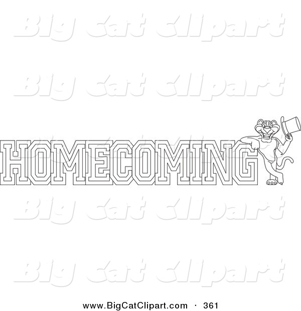Big Cat Cartoon Vector Clipart of an Outline Design of a Panther Character Mascot with Homecoming Text