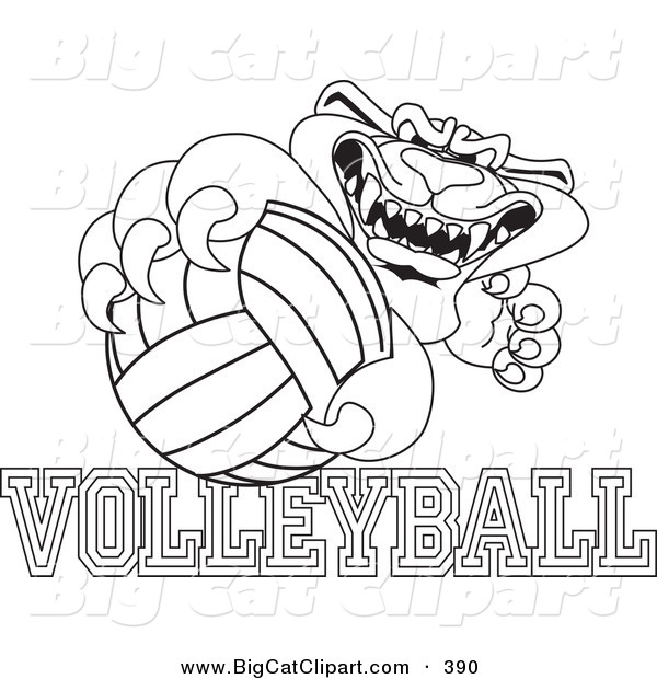 Big Cat Cartoon Vector Clipart of an Outline Design of a Panther Character Mascot with Volleyball Text