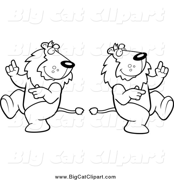Big Cat Cartoon Vector Clipart of Black and White Dancing Lions