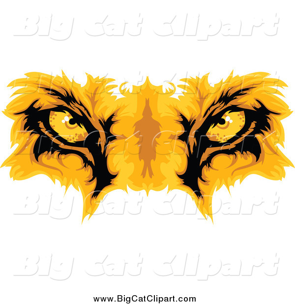Big Cat Cartoon Vector Clipart of Gold Lion Eyes
