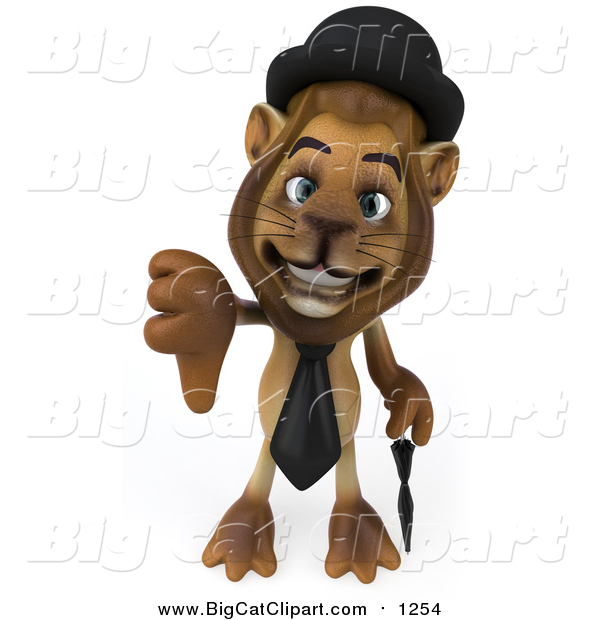 Big Cat Clipart of a 3d Lion Englishman Holding a Thumb down
