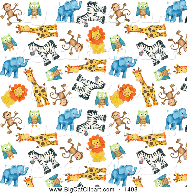 Big Cat Clipart of a Background of Cute Zoo Monkeys Owls Giraffes Zebras Lions and Elephants over White