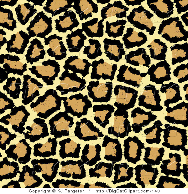 Big Cat Clipart of a Beige Tan and Black Leopard Spots Background