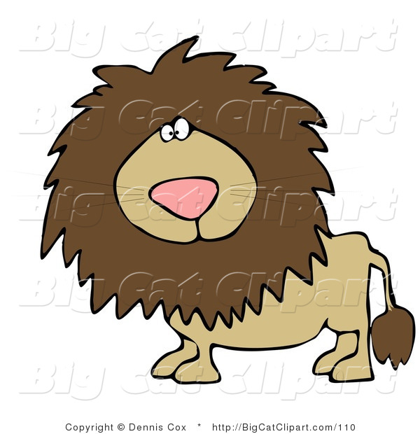 Big Cat Clipart of a Big Male Lion with a Fluffy Mane Looking at the Viewer
