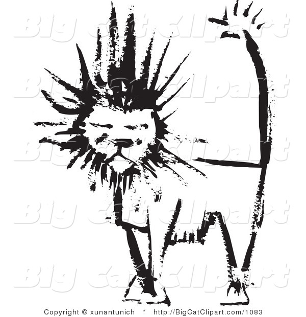 Big Cat Clipart of a Black Ink Male Lion