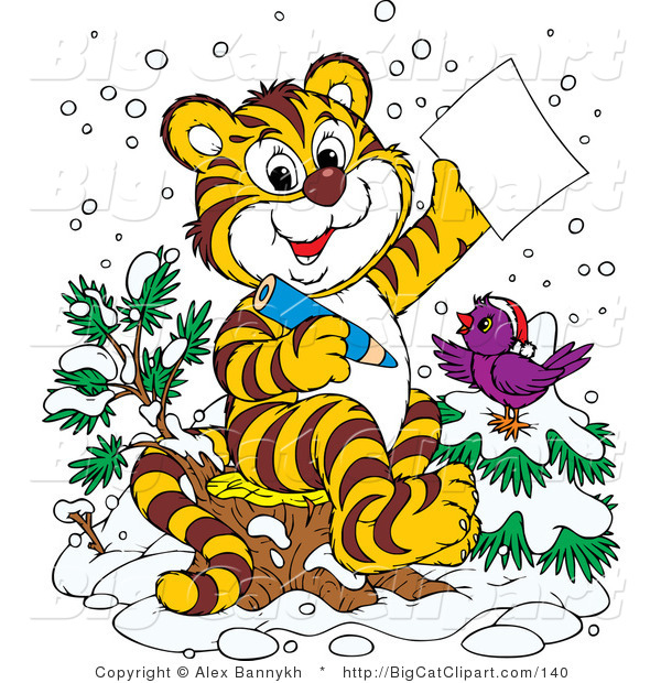 Big Cat Clipart of a Chirping Purple Bird in the Snow, Wearing a Santa Hat, Perched on a Tree by a Tiger Who Is Writing a Dear Santa Letter for Christmas