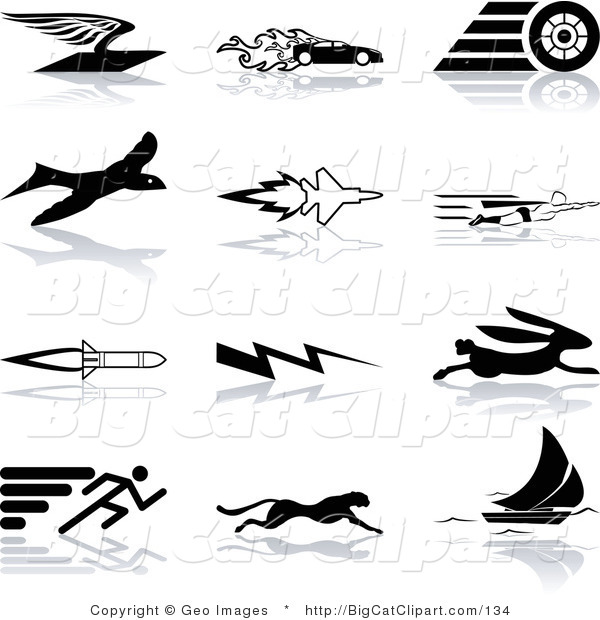 Big Cat Clipart of a Collection of Black Silhouetted Speed Icons on White: a Flying Envelope, Race Car, Tire, Bird, Jet, Super Hero, Rocket, Lightning Bolt, Hare, Sprinter, Cheetah, and Sail Boat
