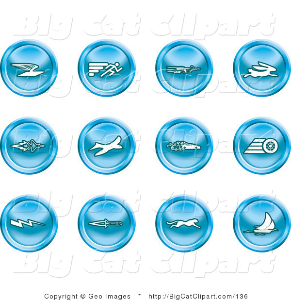 Big Cat Clipart of a Collection of Blue Speed Buttons of Email, Runner, Super Hero, Rabbit, Jet, Bird, Race Car, Tire, Lightning Bolt, Rocket, Cheetah and Sailboat
