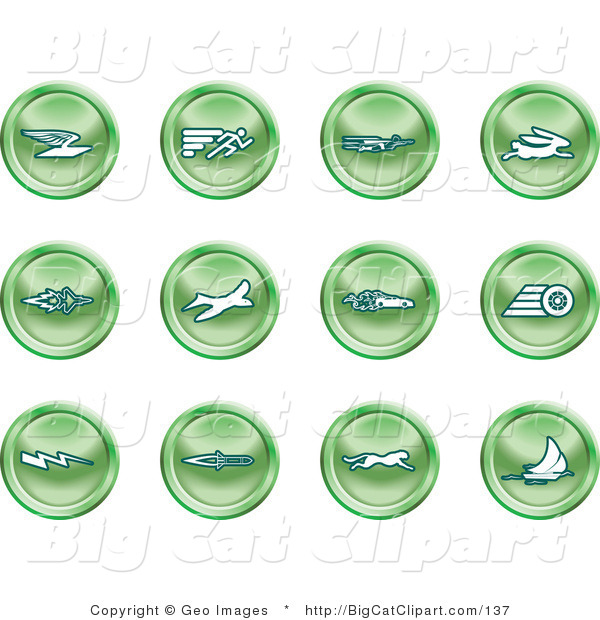 Big Cat Clipart of a Collection of Green Speed Buttons of Email, Runner, Super Hero, Rabbit, Jet, Bird, Race Car, Tire, Lightning Bolt, Rocket, Cheetah and Sailboat