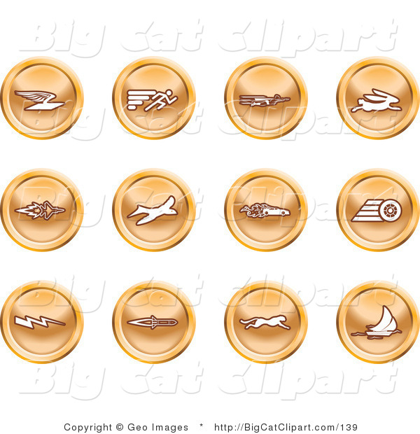 Big Cat Clipart of a Collection of Orange Speed Buttons of Email, Runner, Super Hero, Rabbit, Jet, Bird, Race Car, Tire, Lightning Bolt, Rocket, Cheetah and Sailboat